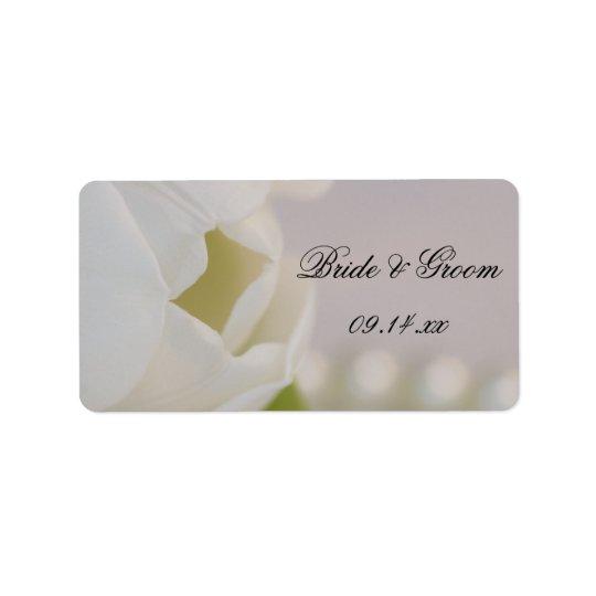 Etiqueta blanca del favor del boda del tulipán y etiqueta de dirección