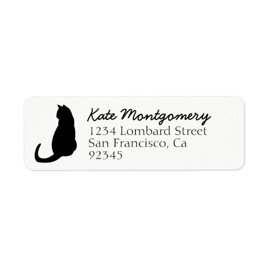 Etiqueta blanca del remite de la silueta del gato etiqueta de remitente