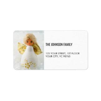 Etiqueta blanca elegante simple del día de fiesta etiquetas de dirección