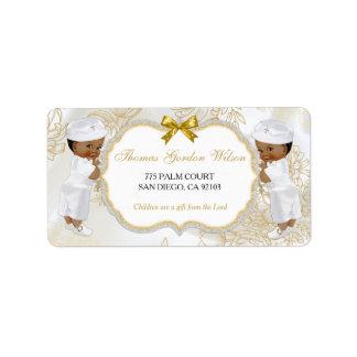 Etiqueta Blanco del oro del bautismo de los gemelos de los