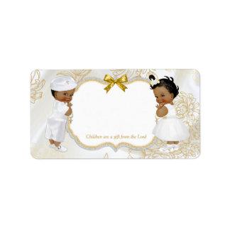 Etiqueta Blanco del oro del bautismo del muchacho de la
