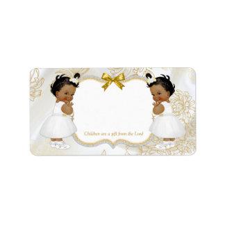 Etiqueta Blanco gemelo del oro del bautismo de las niñas