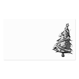 Etiqueta blanco y negro del regalo del árbol de tarjetas de visita