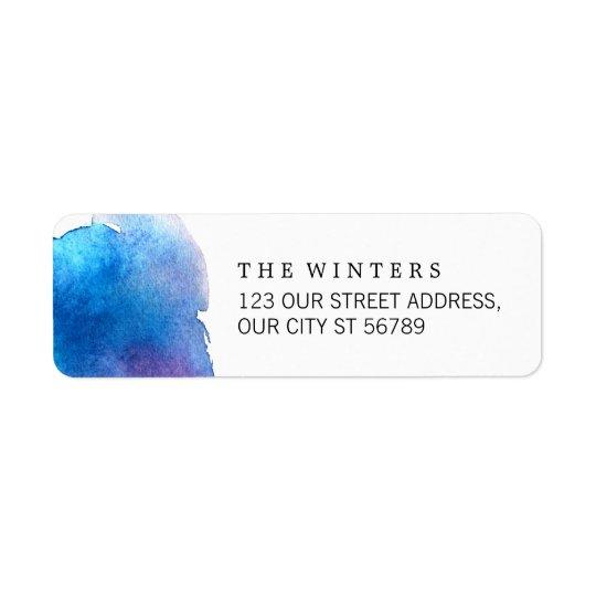 Etiqueta Boda azul de la acuarela del chapoteo