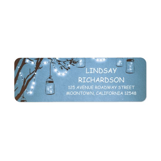 Etiqueta Boda azul rústico romántico de los tarros de