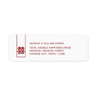 Etiqueta Boda chino moderno de la felicidad doble alta