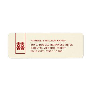 Etiqueta Boda chino moderno de la felicidad doble roja alta