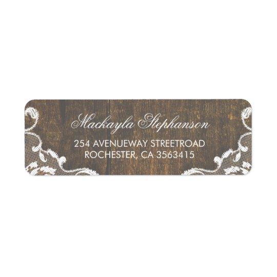 Etiqueta Boda de madera rústico del cordón