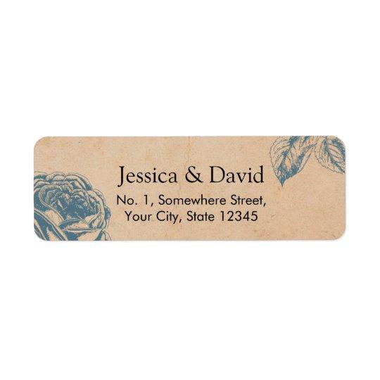 Etiqueta Boda floral azul de la rosaleda del vintage