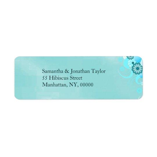 Etiqueta Boda floral de la turquesa azul verde azulada