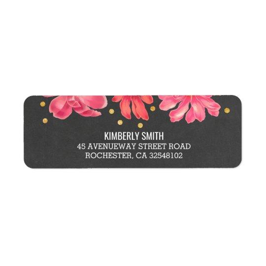 Etiqueta Boda floral del confeti del oro de la pizarra