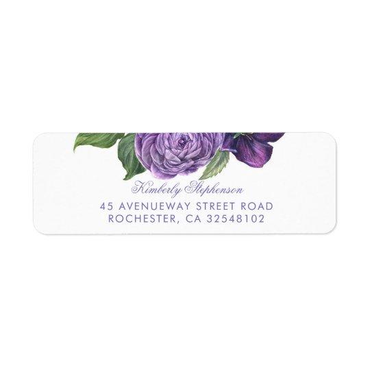 Etiqueta Boda floral del vintage púrpura