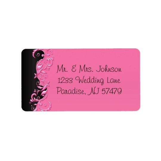 Etiqueta Boda florido negro y rosado elegante