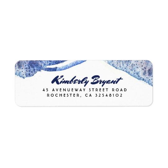 Etiqueta Boda moderno cristalino de la acuarela azul