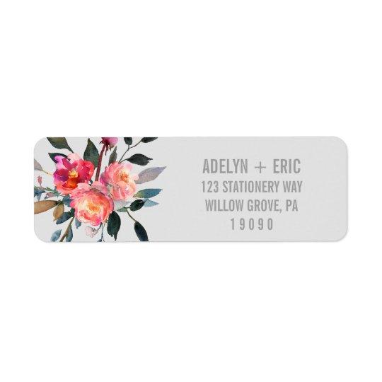 Etiqueta Boda moderno de la flor del invierno del gris el |