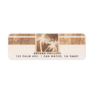 Etiqueta Boda moderno de las palmeras tropicales del cobre
