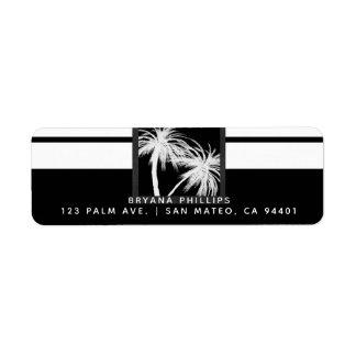 Etiqueta Boda moderno de las palmeras tropicales negras y