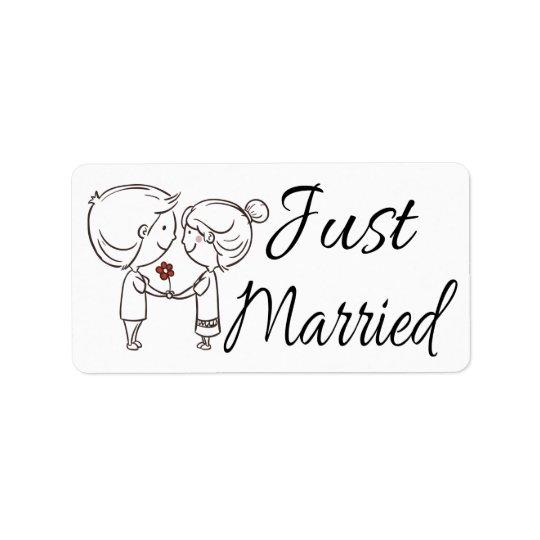 Etiqueta Boda negro y blanco casado apenas de la novia y