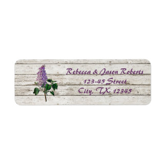 Etiqueta boda púrpura de madera blanqueado país de la lila