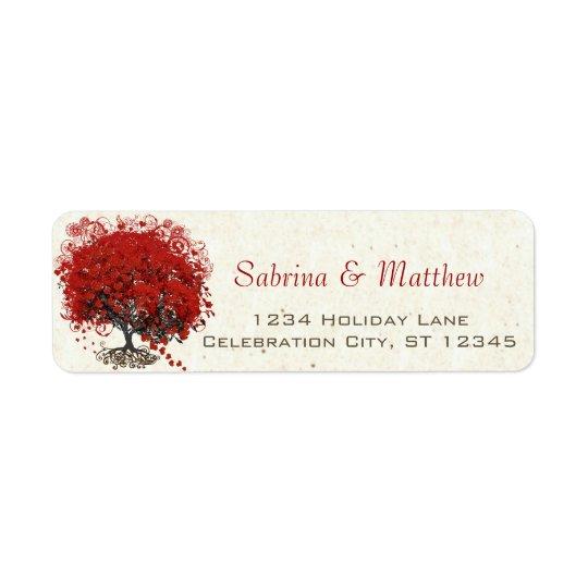 Etiqueta Boda rojo del árbol de la hoja del corazón