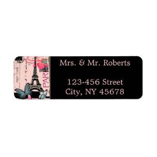Etiqueta boda rosado del destino de la torre Eiffel de