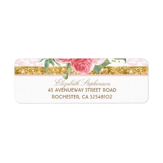 Etiqueta Boda rosado floral del vintage del encanto del