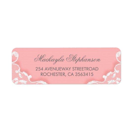 Etiqueta Boda rosado y blanco del cordón