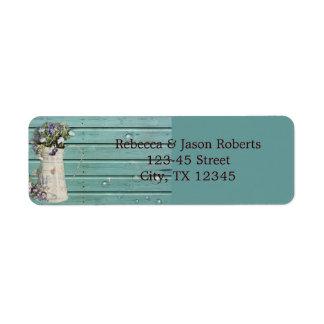 Etiqueta boda rústico de madera del granero floral del país