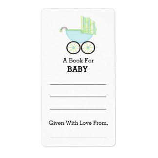 Etiqueta Bookplate azul de la fiesta de bienvenida al bebé
