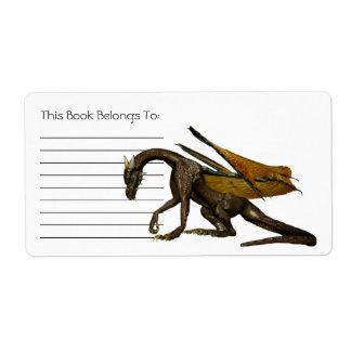 Etiqueta Bookplate del dragón