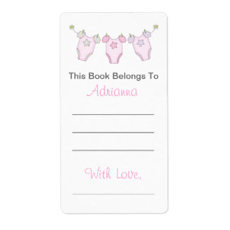 Etiqueta Bookplate lindo de la fiesta de bienvenida al bebé