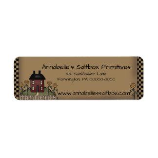 Etiqueta Borgoña Saltbox y dirección personalizada