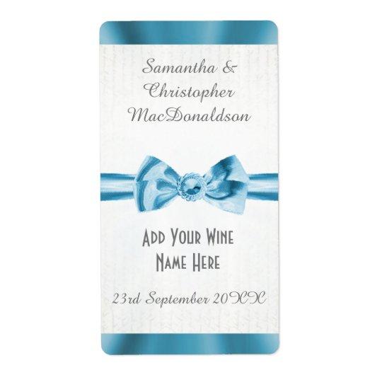 Etiqueta Botella de vino azul claro del boda del arco de la