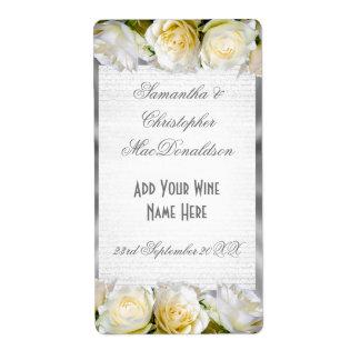 Etiqueta Botella de vino de la bodas de plata floral y del
