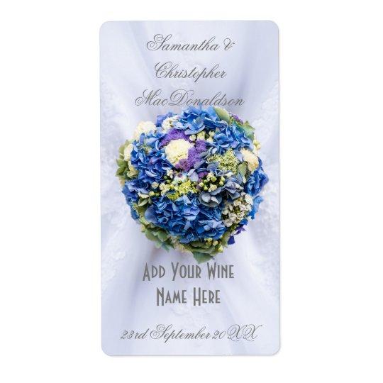 Etiqueta Botella de vino floral azul del vestido de boda de