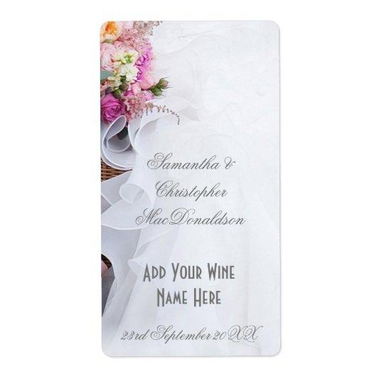 Etiqueta Botella de vino floral rosada del vestido de boda
