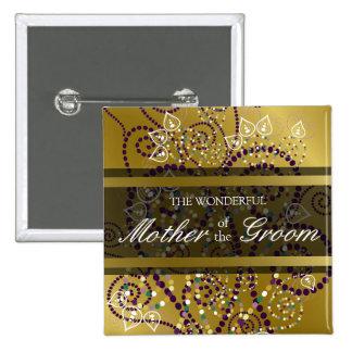 Etiqueta/botón del nombre del boda del oro de los chapa cuadrada 5 cm