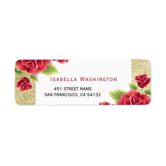 Etiqueta Brillo de los rosas rojos y del oro de la acuarela
