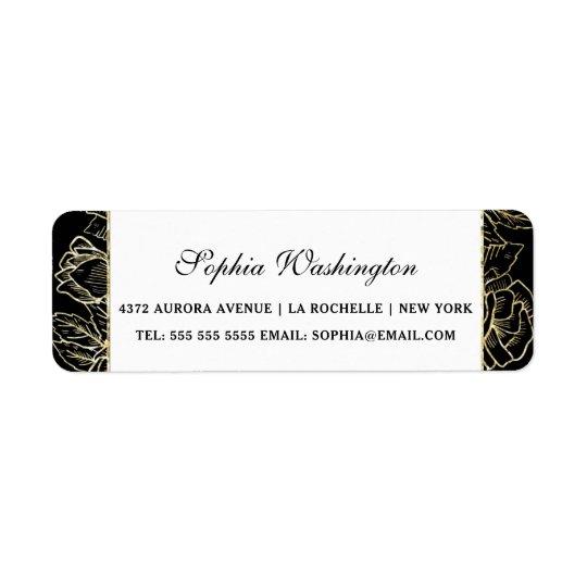 Etiqueta Brillo elegante del oro y dirección negra del boda