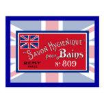 Etiqueta británica del jabón del vintage postal