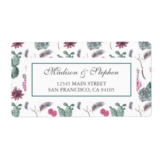 Etiqueta Cactus de Boho, suculento y floral - boda