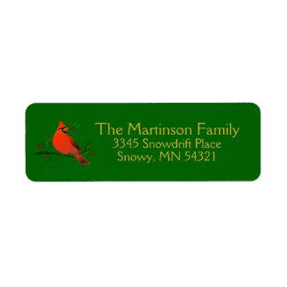 Etiqueta Cardenal rústico en rama con día de fiesta de las