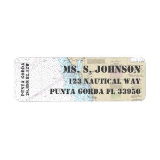 Etiqueta Carta de navegación náutica del puerto de origen