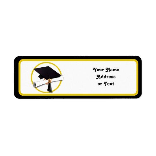 Etiqueta Casquillo y diploma de la graduación