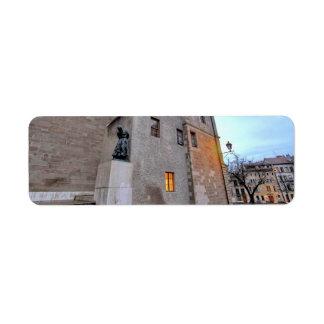 Etiqueta Catedral de St Pierre en Ginebra Suiza