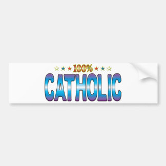 Etiqueta católica v2 de la estrella etiqueta de parachoque