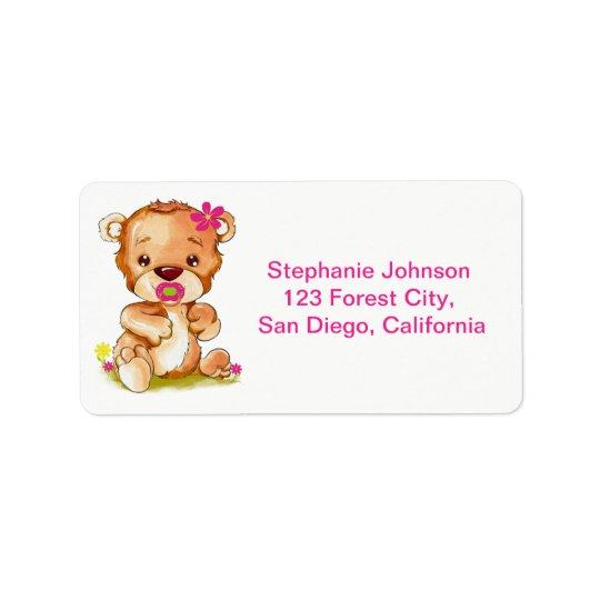 Etiqueta Chica lindo del oso del bebé de la acuarela