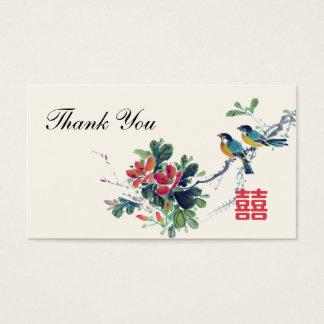Etiqueta china del favor del boda de los pájaros