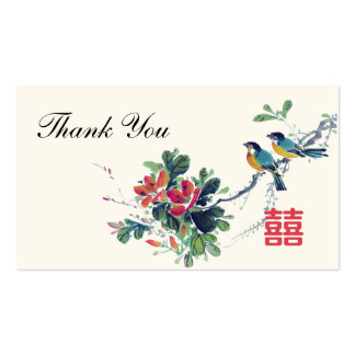 Etiqueta china del favor del boda de los pájaros tarjetas de visita