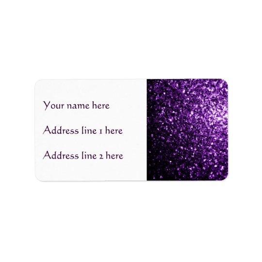 Etiqueta Chispas púrpuras oscuras hermosas del brillo